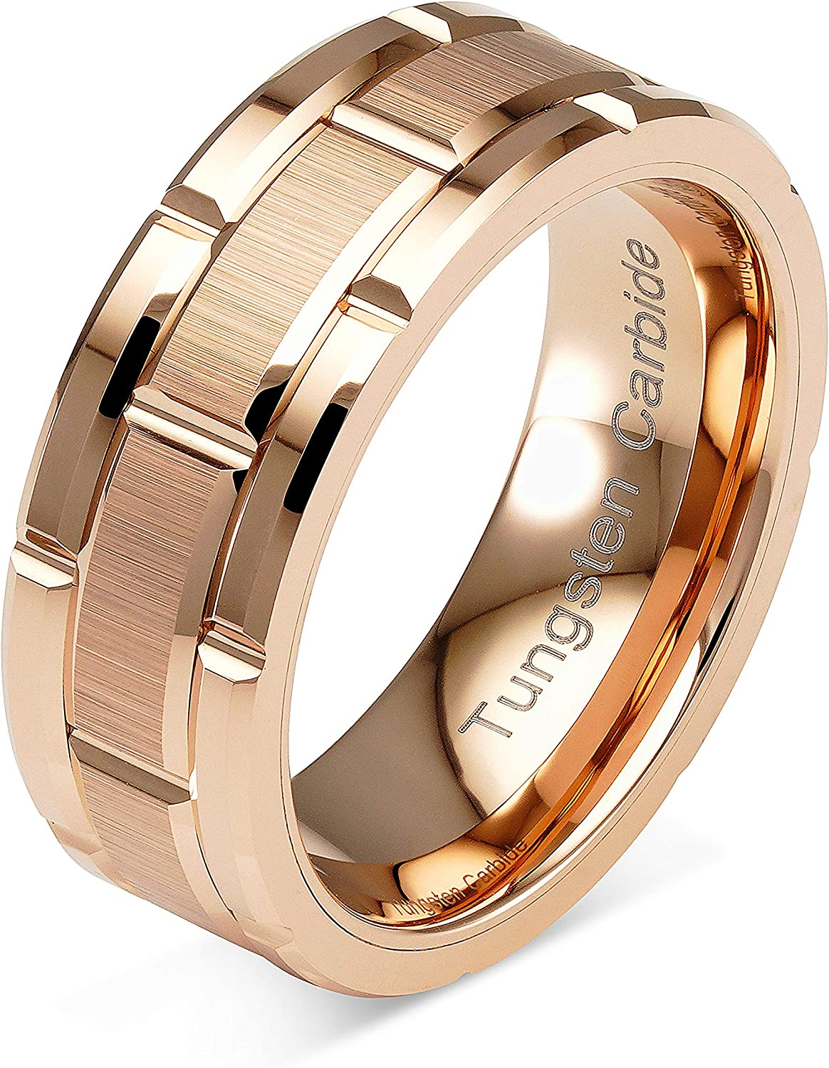 Tungsten Rings for Mens Wedding Band Rose Gold Brick Pattern Engagement Promise Jewelry Size 6-16