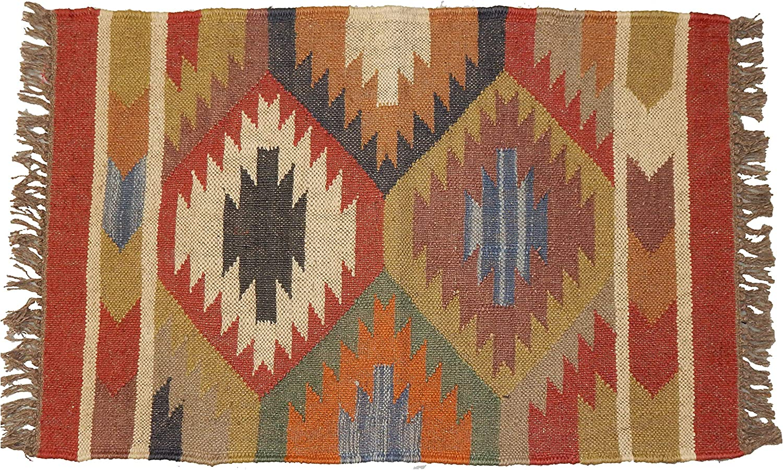 Amazon.com: Handicraft Bazar Wool Jute Dhurrie Yoga Mat 2x3 ...