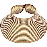 Simplicity Women's Summer Foldable Straw Sun Visor w/ Cute Bowtie