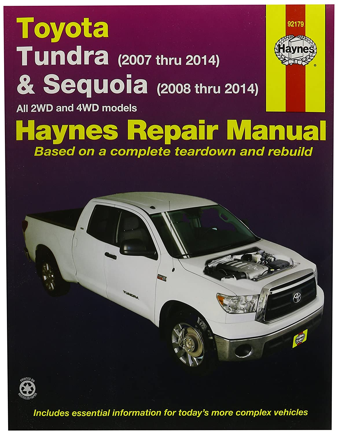 Amazon.com: Haynes Repair Manuals Toyota Tundra 2007-2014 and Sequoia  2008-2014 (92179): Automotive