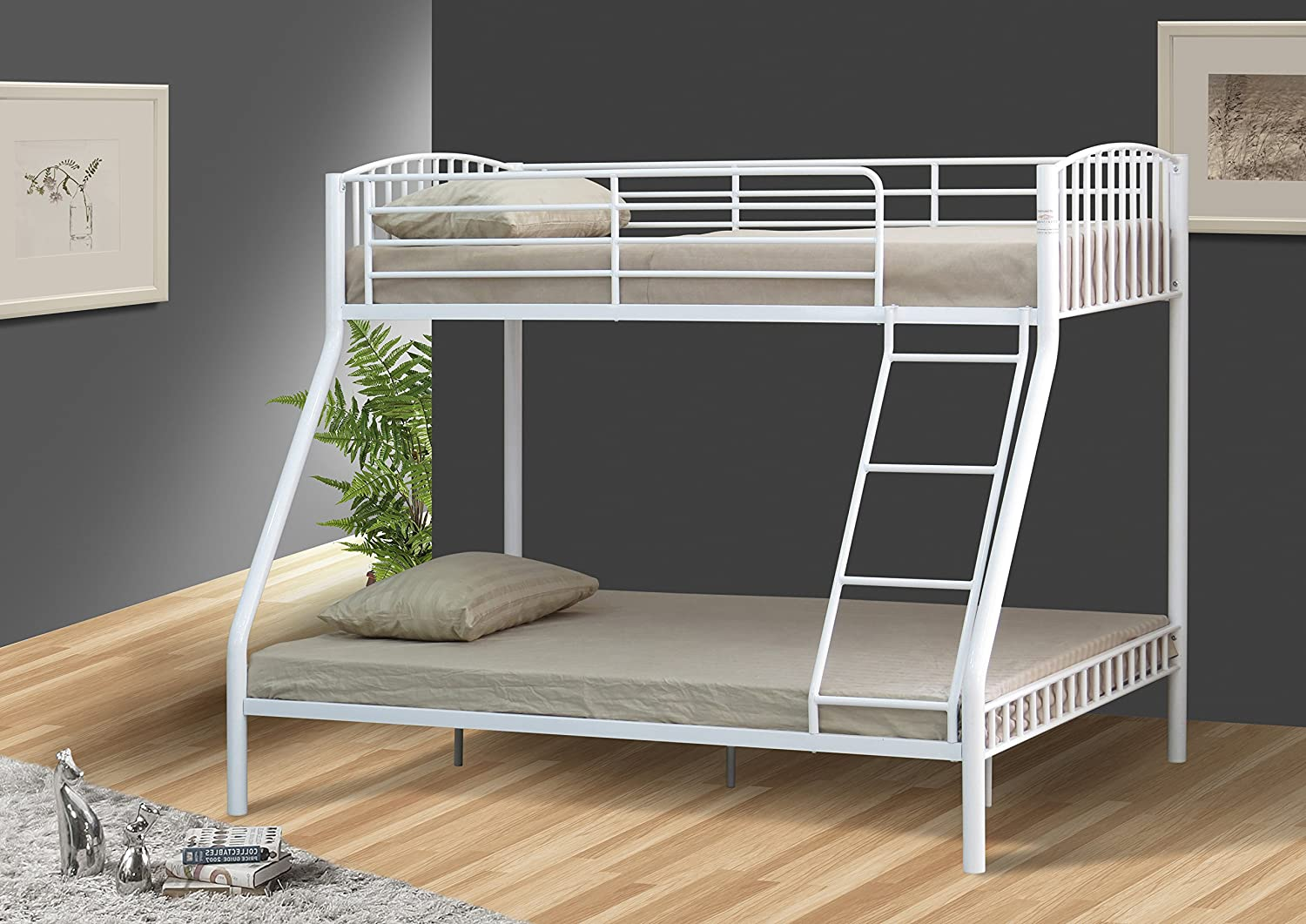 Comfy Living Silver 3ft and 4ft6 Triple Metal Kids Bunk Bed Without Mattresses