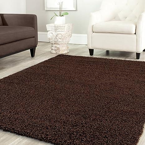 Teppich-Home Star Shaggy Teppich Farbe Hochflor Langflor Teppiche Modern  für Wohnzimmer Schlafzimmer Uni Farben, Farbe:Braun, Maße:60x100 cm
