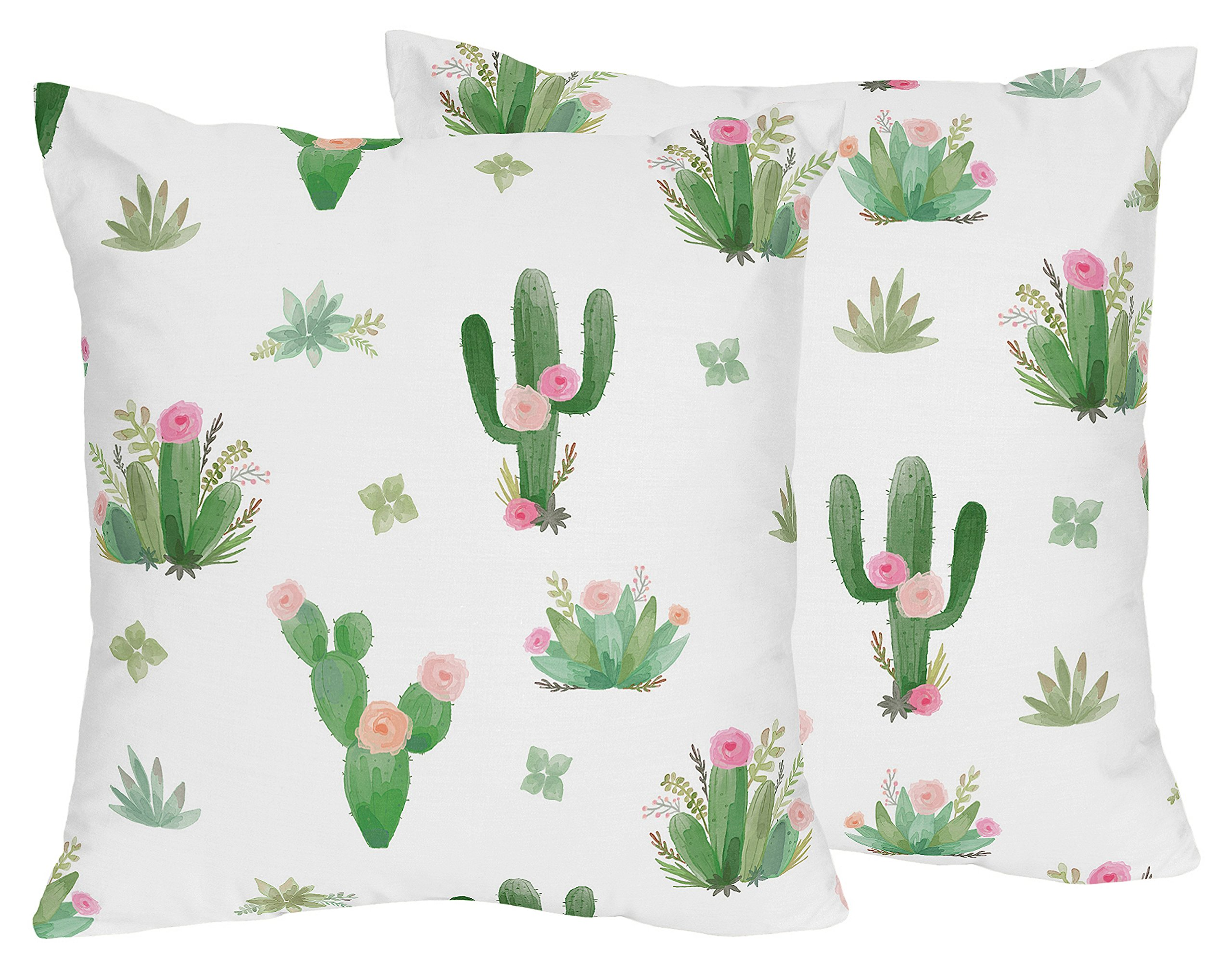 Sweet Jojo Designs Pink and Green Boho Watercolor Decorative Accent Throw Pillows for Cactus Floral Collection - Set of 2