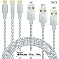 3-Pack IDiSON SDGW327 Nylon Braided Lightning Charge & Sync Cable [Apple MFi Certified] (10ft 6ft 3ft)