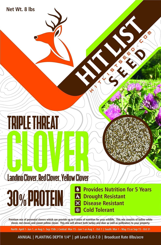 Triple Threat Clover Deer Food Plot Seed, Ladino Clover, Red Clover, Yellow Clover, Food Plot Seeds for White Tail Deer & Turkey (1/2 Acre (4 lbs))