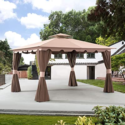 Sunjoy 110109399 Original Replacement Canopy for Hampton Gazebo (10X12 Ft) L-GZ215PST-5B Sold at OSJ, Ginger Snap: Garden & Outdoor