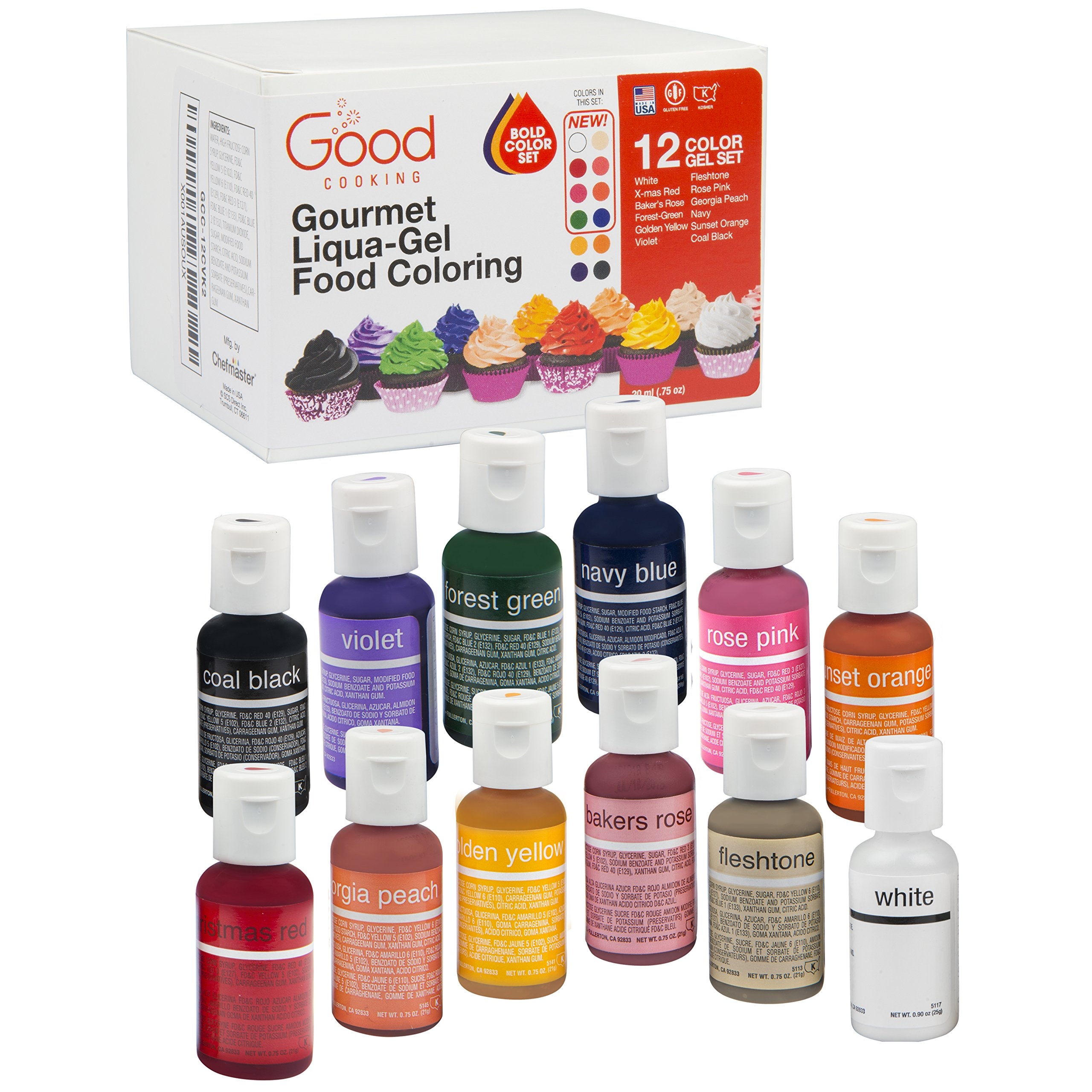 Food Coloring Liqua-Gel - 12 Color''Bold'' Variety Kit 2 in .75 fl. oz. (20ml) Bottles