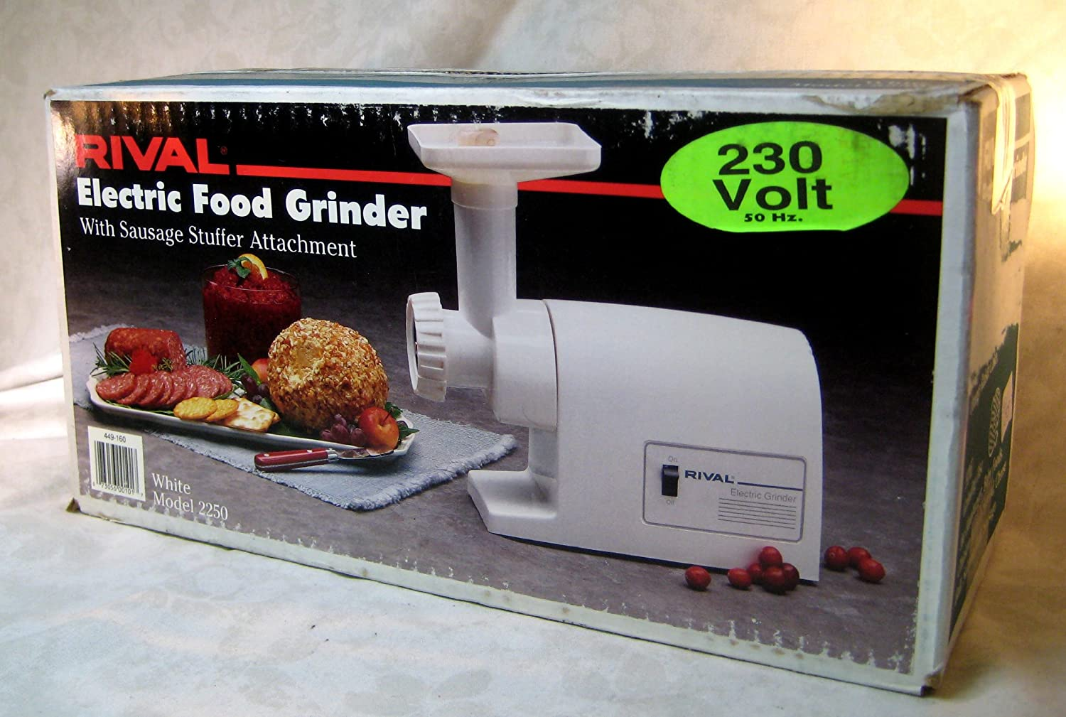 Rival Electric Food Grinder with Sausage Stuffer Attachment, 220-volt