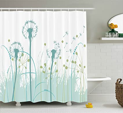 Ambesonne Spring Shower Curtain Silhouette Dandelion Floral Foliage Seasonal Blooms Botany Eco Illustration Fabric