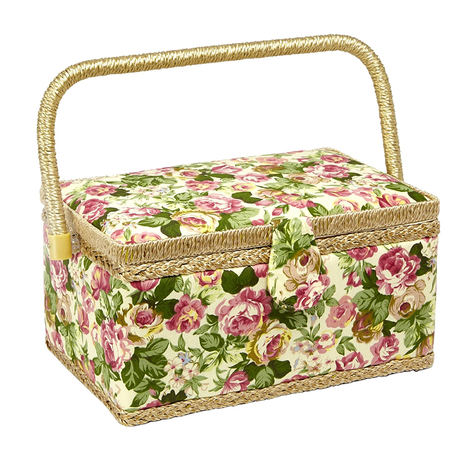 Sewing Basket with Tulip Floral Print Design- Sewing Kit Storage Box with Removable Tray, Built-In Pin Cushion and Interior Pocket - Medium - 11