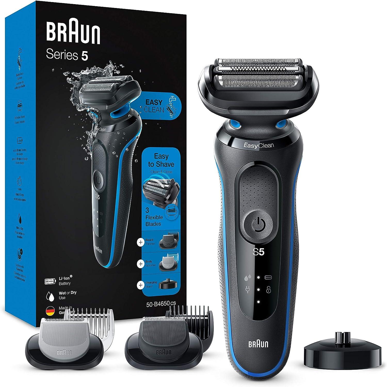 Braun Series 5 50-B4650cs Afeitadora Eléctrica, máquina de afeitar hombre de lámina, Con Base De Carga, recortadora de barba, Depiladora Corporal, Uso En Seco Y Mojado, Recargable, Inalámbrica, Azul