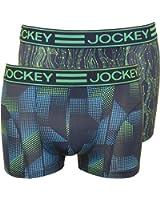 Jockey 2-Pack Sport Microfibre Active Men's Boxer Trunks, Navy/Green/Blue