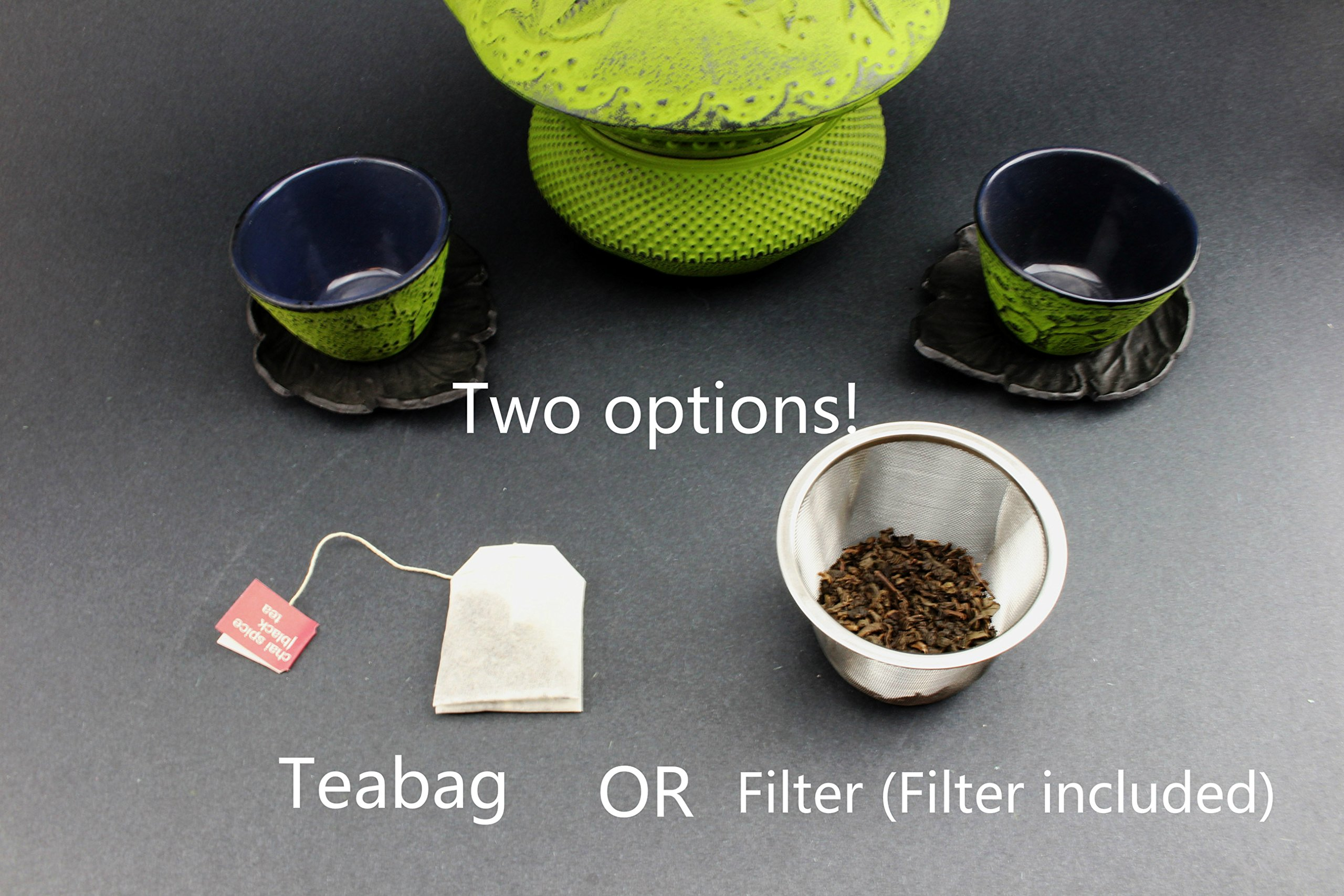 Teapot Trivet Iron Cast Warmer + Japanese Antique 24 Fl Oz Green Dot Hobnail Chinese Cast Iron Teapot Tetsubin with Infuser ~ We Pay Your Sales Tax