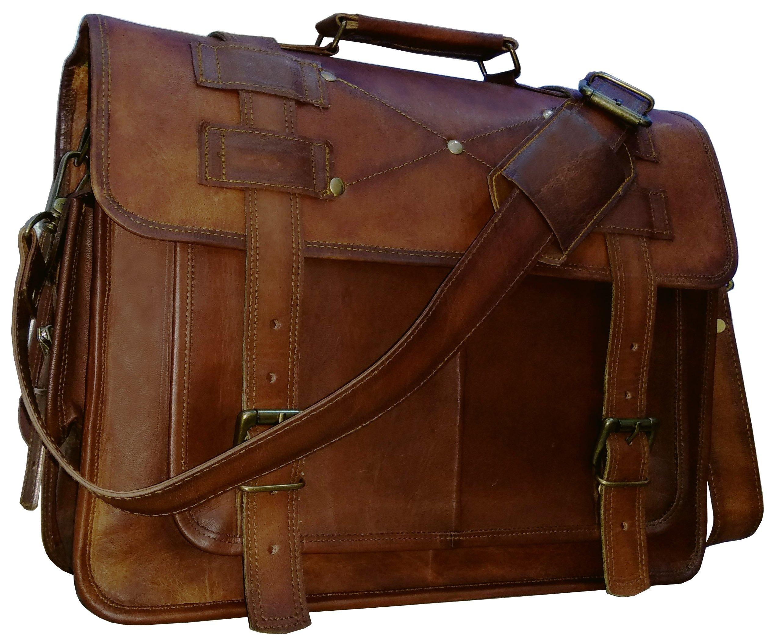 16'' leather messenger bags for men women mens briefcase laptop bag best computer shoulder satchel school distressed bag by VINTAGE COUTURE by VINTAGE COUTURE