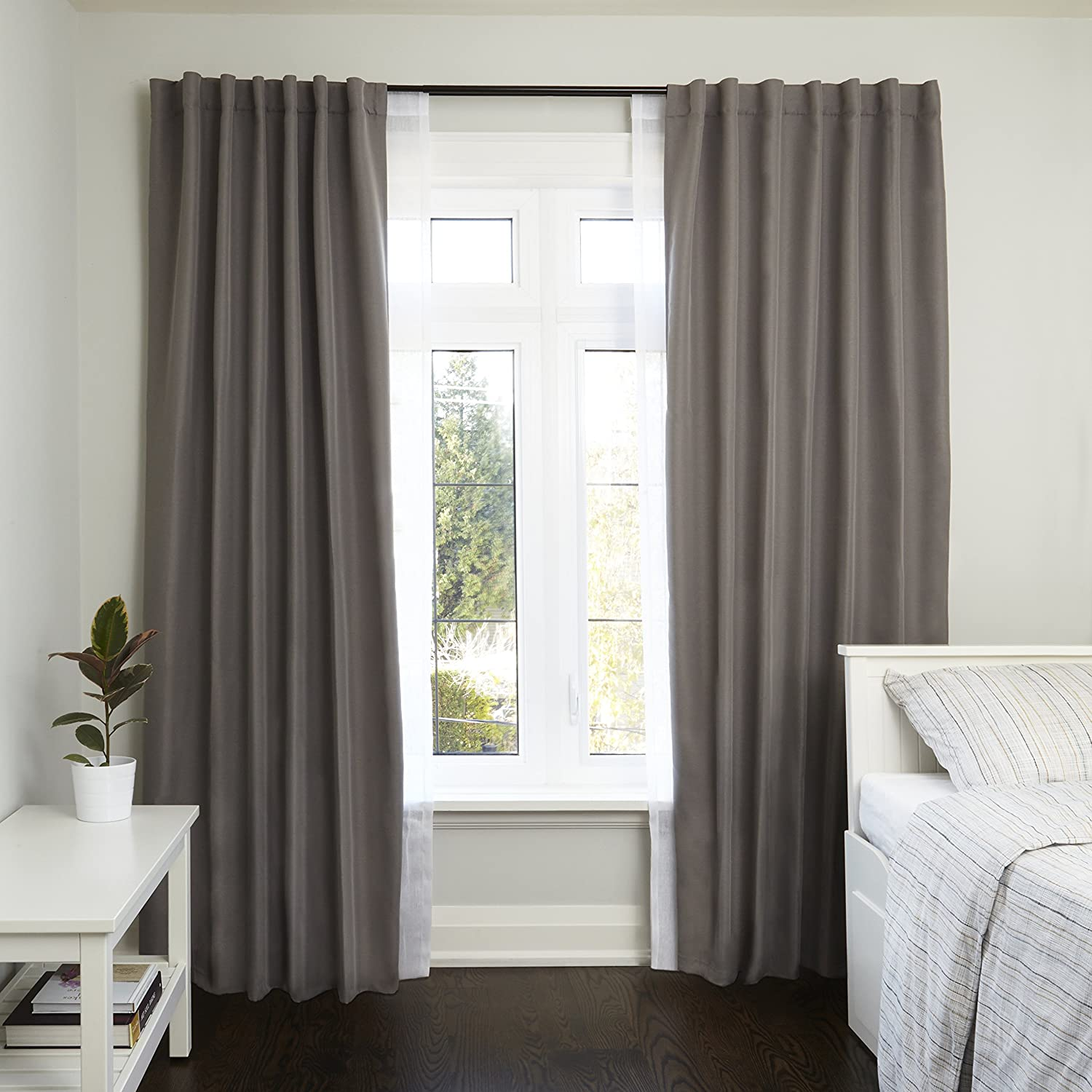 """Umbra Twilight Double Black Out Window Curtain Rod Nickel 48 to 88/"""" Wrap Around Adjustable Double Curtain Rod for Blackout Curtains"""