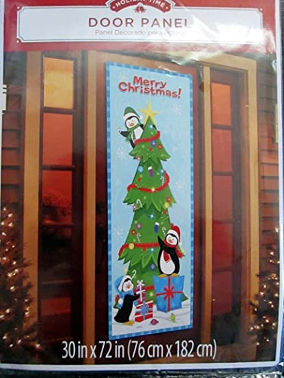 holiday time door panel cover penguins decoraing a christmas tree