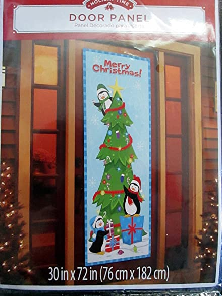 holiday time door panel cover penguins decoraing a christmas tree - Holiday Time Christmas Tree