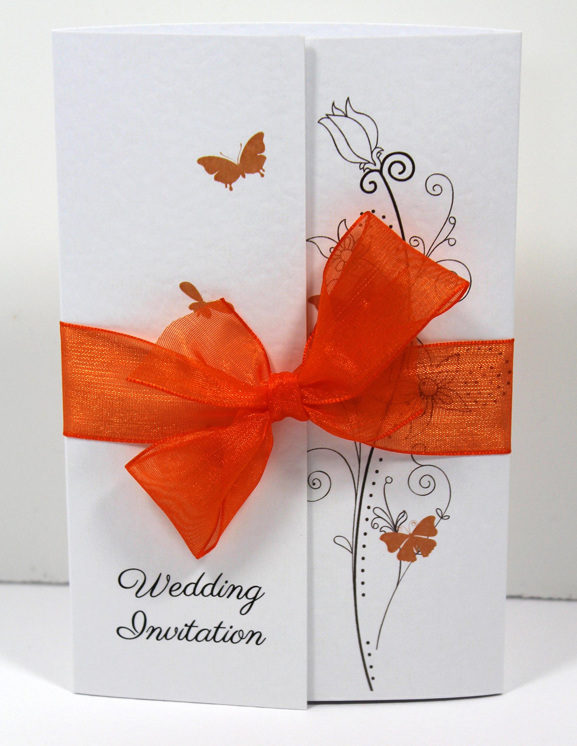 Orange Wedding Invitation Card: Amazon.co.uk
