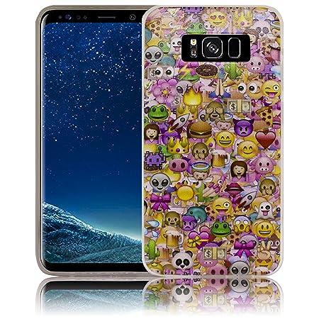 Compatible para Samsung Galaxy S8+ S8 Plus Emoji SonreírSonreíry Funda protectora de silicona Funda protectora suave Funda protectora contra el parachoques ...