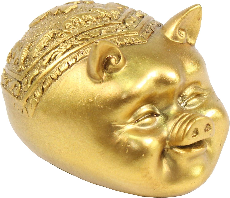 "W 金猪 Feng Shui 3"" Gold Legless Pig Head Figurine Home Decor Housewarming Gift Gold Pig G16267"