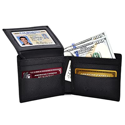 RFID Blocking Genuine Leather Wallet for Men, Protect Credit & Debit Cards