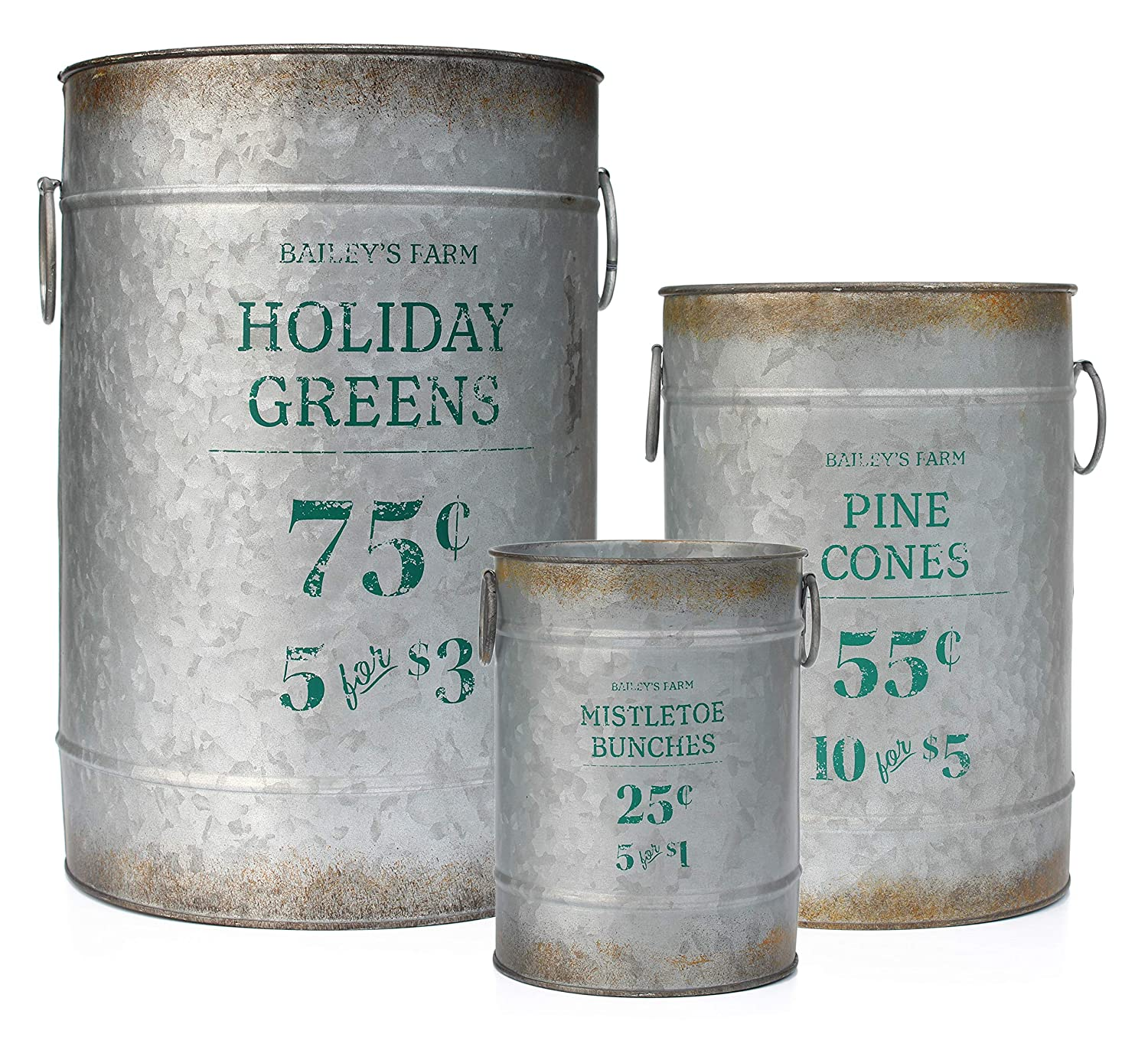 AuldHome Design Christmas Galvanized Greenery Buckets (Set of 3), Large, Medium, Small Metal Farmhouse Decor Galvanized Cans with Holiday Pine Motif for Flower Arrangements