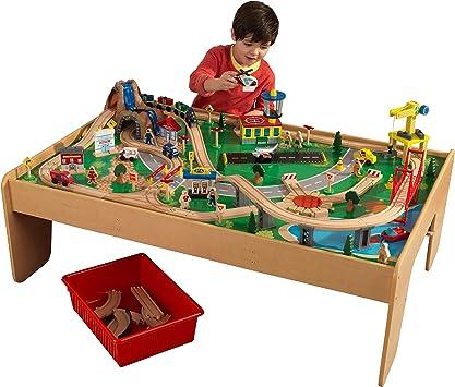 KidKraft- Juguete de vías de tren y mesa con cascada y montaña, de madera, para niños, juego clásico de actividades ferroviarias con accesorios incluidos (120 piezas) , Color Multicolor (17850): Amazon.es: Juguetes