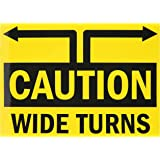 """SmartSign 3M Engineer Grade Reflective Label, Legend """"Wide Turns"""" with Arrow, 10"""" high x 14"""" wide, Black on Yellow"""