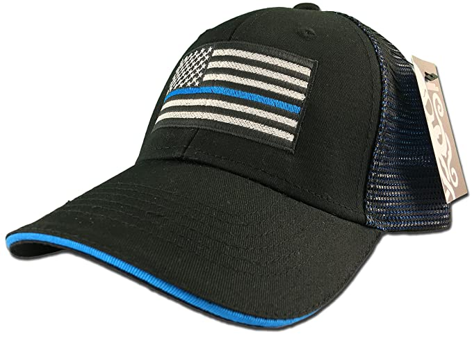 2f4d51e0b Thin Blue Line LEO American Flag Hat Black / Blue mesh back Snapback cap  police