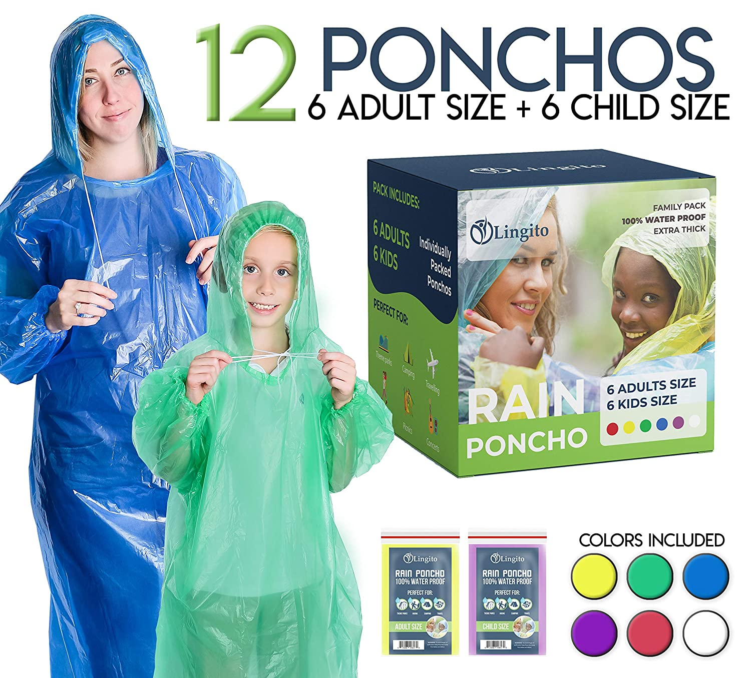 Lingito Rain Ponchos Family Pack   Emergency Raincoat Drawstring Hood Poncho for Children and Adults   Lightweight Reusable or Disposable 4 Pack, 8 Pack or 12 Pack