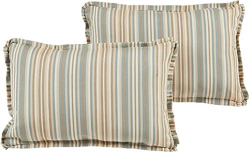Mozaic AZPS7745 Indoor Outdoor Sunbrella Lumbar Pillows, Set of 2 12 x 18 Green Brown Stripes