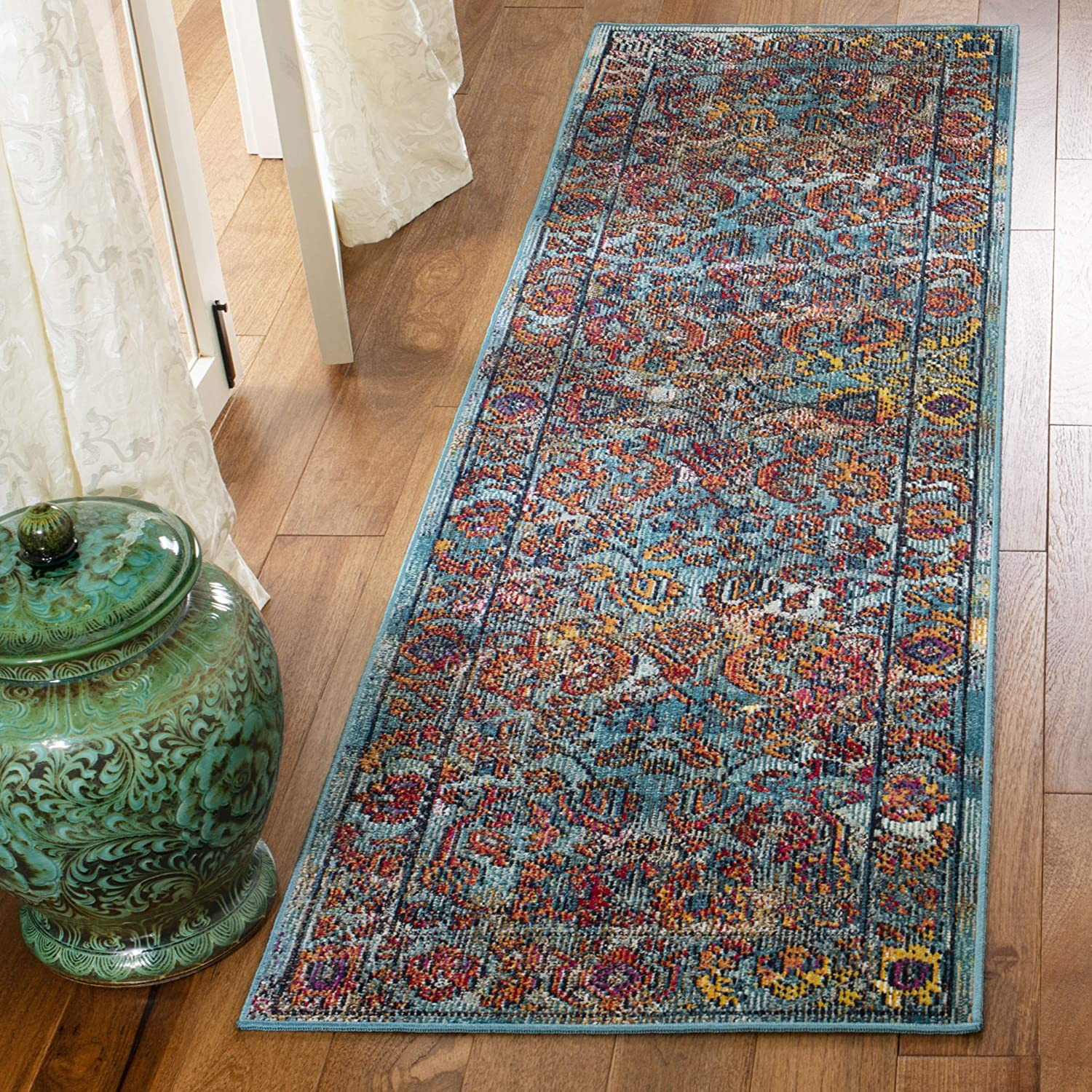 Safavieh Crystal Collection CRS515A Light Blue and Orange Distressed Area Rug (3' x 5')