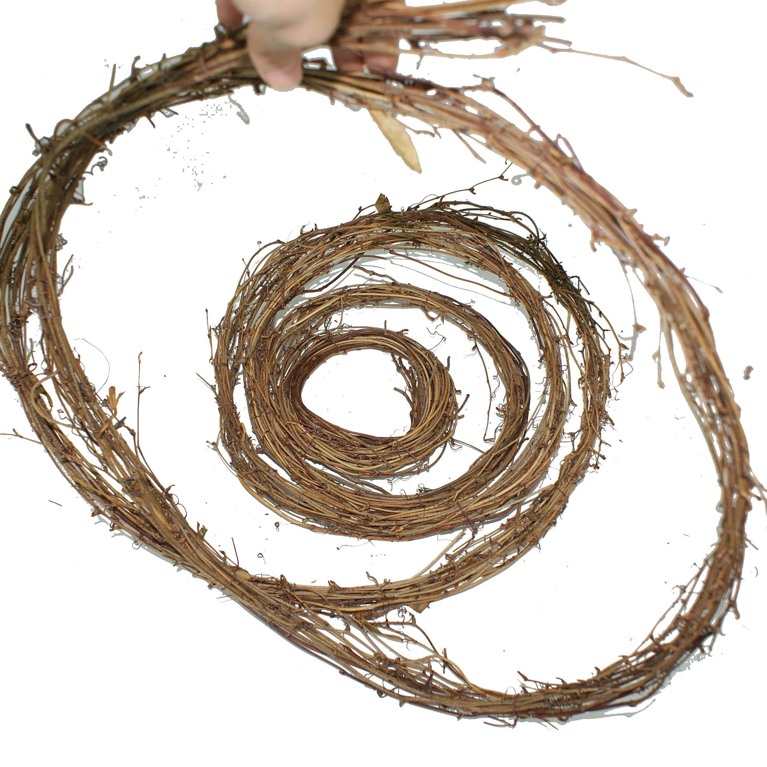 Forevercute 2pcs 12 Ft Roll of Natural Dried Grapevine Garland color brown