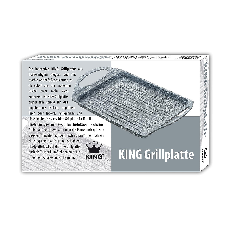 King GP1358 Aluguss Grillplatte Induktionsgeeignet grau marbel