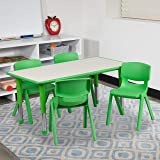 Flash Furniture 23.625''W x 47.25''L Rectangular Green Plastic Height Adjustable Activity Table Set with 4 Chairs