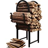 Black Powder Coated Metal Arch Design Indoor or Outdoor Firewood Log Rack w/ Kindling Holder - MyGift