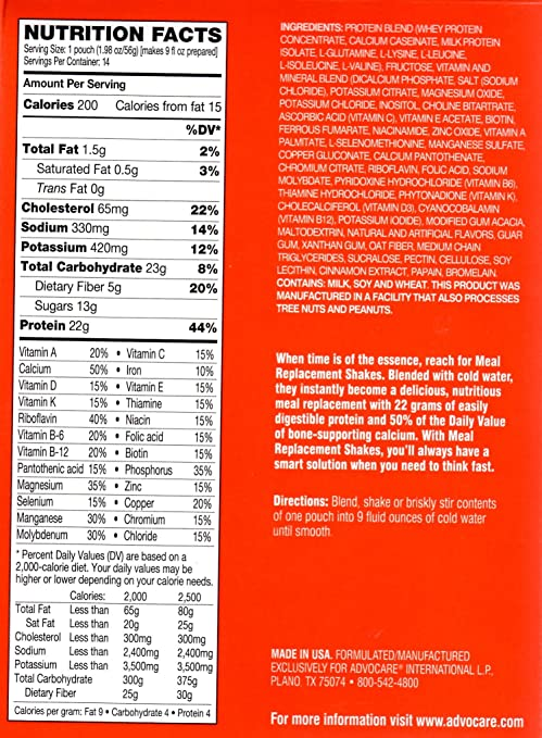 Amazon.com: Advocare Meal Replacement Shake Holiday, White Chocolate Peppermint: Health & Personal Care