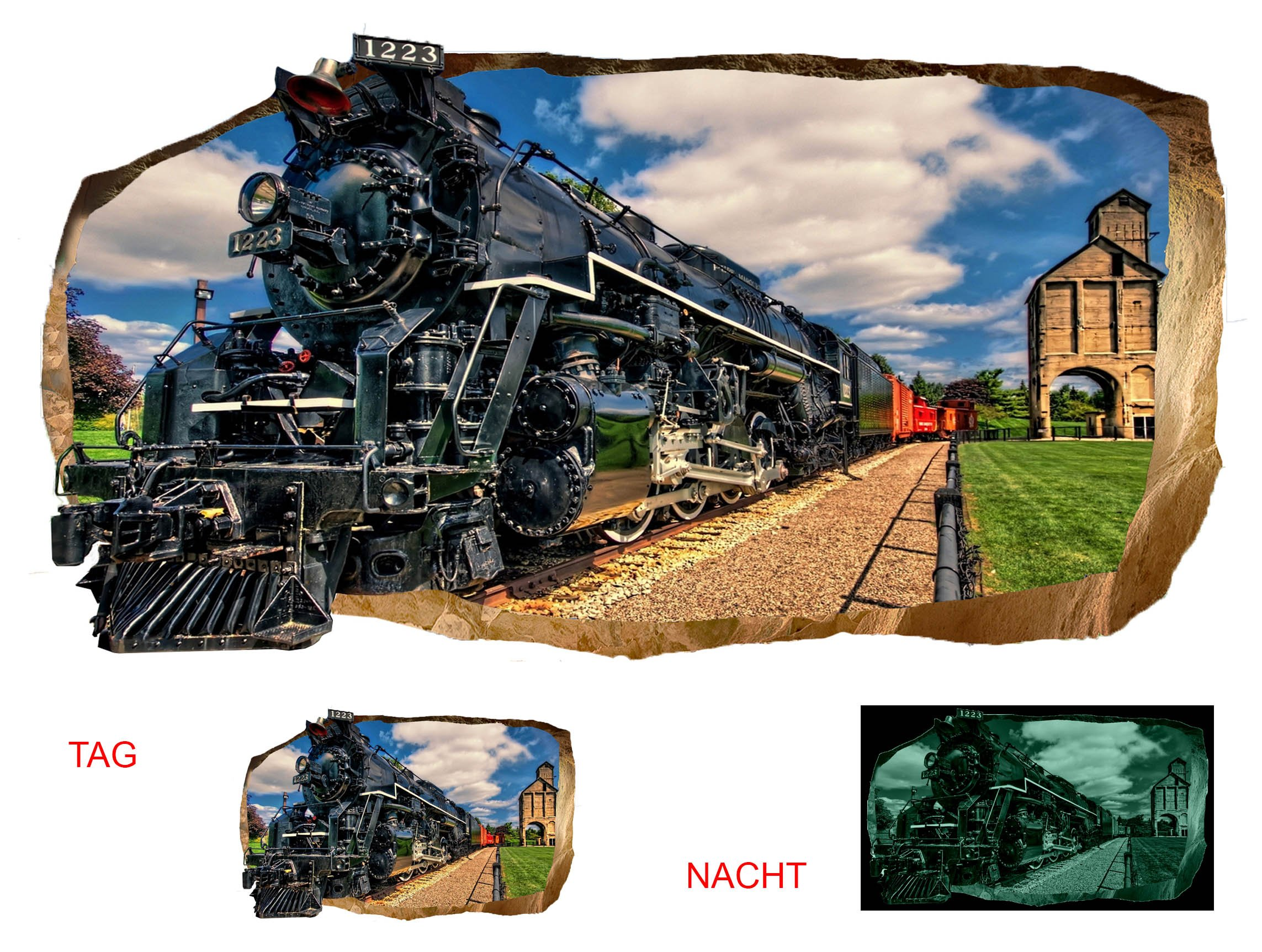 Startonight 3D Mural Wall Art Photo Decor Luxury Train Amazing Dual View Surprise Large Wall Mural Wallpaper for Living or Bedroom Room 120 x 220 cm