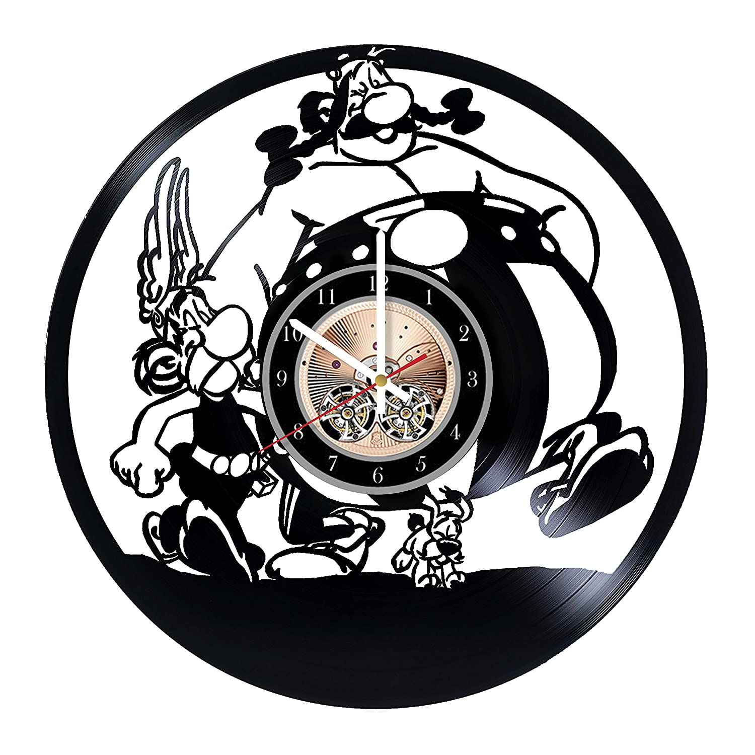 Asterix and Obelix HANDMADE Vinyl Record Wall Clock - Get unique bedroom or living room wall decor - Gift ideas for him and her