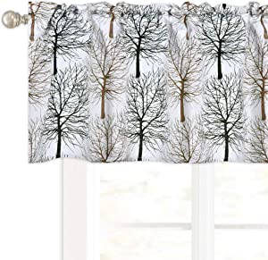 Christmas Tree Branch Window Valance Christmas Decor Kitchen Valance Room Darkening Thermal Insulated Rod Pocket Top Valance Short Window Valance for Bedroom and Living Room 52X18 Inch Brown