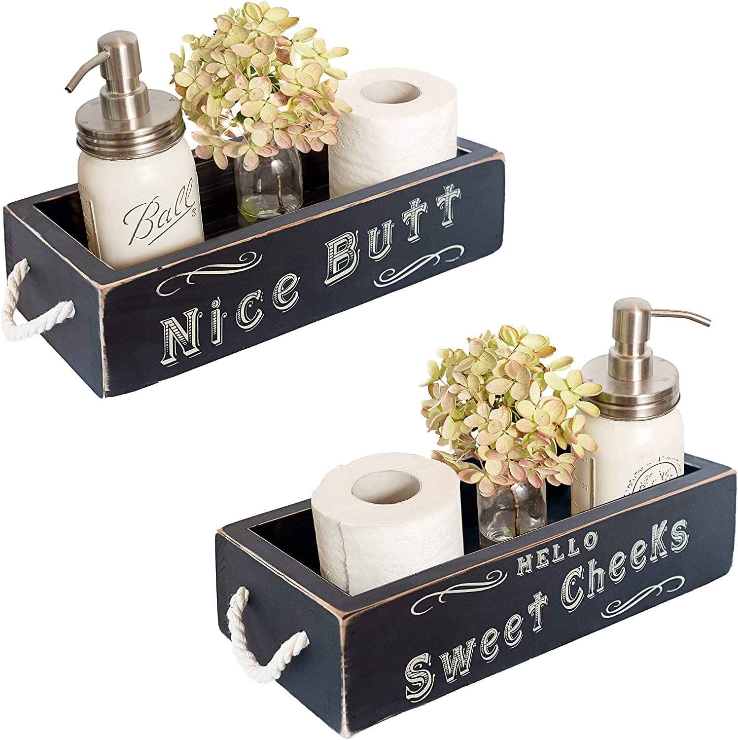 Nice Butt Bathroom Decor Box, 2 Sides with Funny Sayings - Funny Toilet Paper Holder Perfect for Farmhouse Bathroom Decor, Toilet Paper Storage, Rustic Bathroom Decor, or Diaper Organizer (Black)