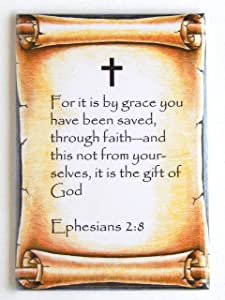 Ephesians 2:8 Bible Verse Fridge Magnet (2 x 3 inches)