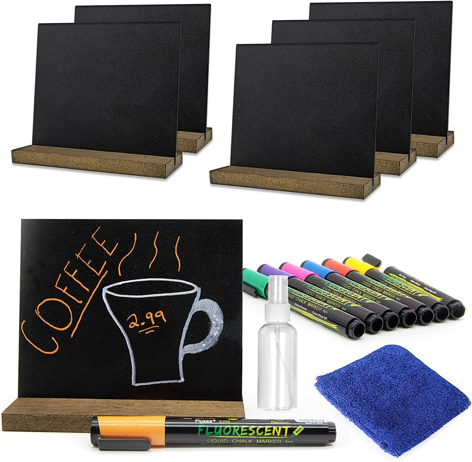 Deluxe Mini Chalkboard Set - Complete with 6 Small Chalkboards with Stand, 8 Liquid Neon Chalk, Microfiber Towel & Spray Bottle - Mini Chalk Board Great for Events - Detachable Chalkboard Sign Display