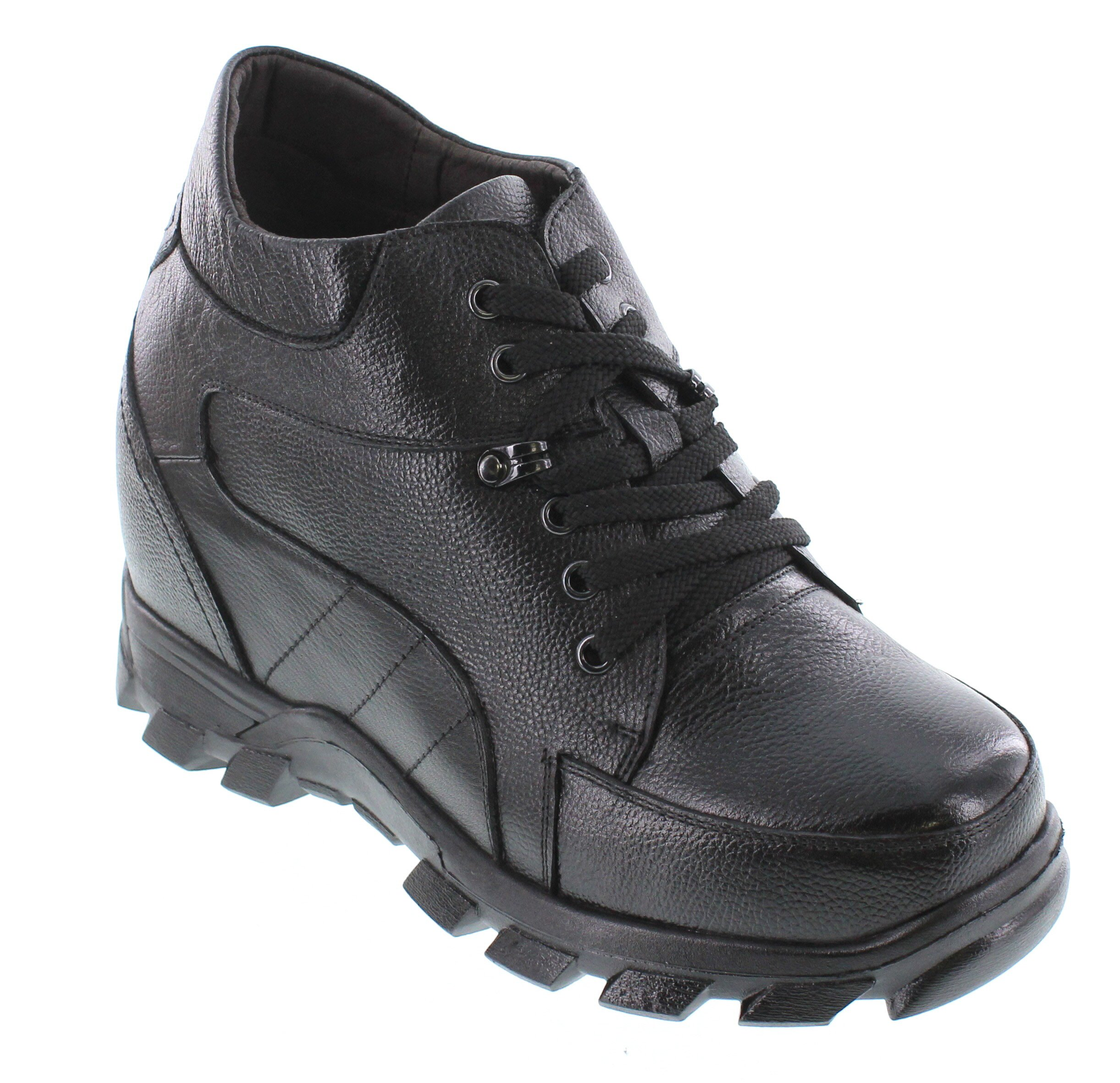 CALDEN - K107216-5.2 Inches Taller - Size 7.5 D US - Height Increasing Elevator Shoes (Black Leather Lace up Extra Heightening Boot)