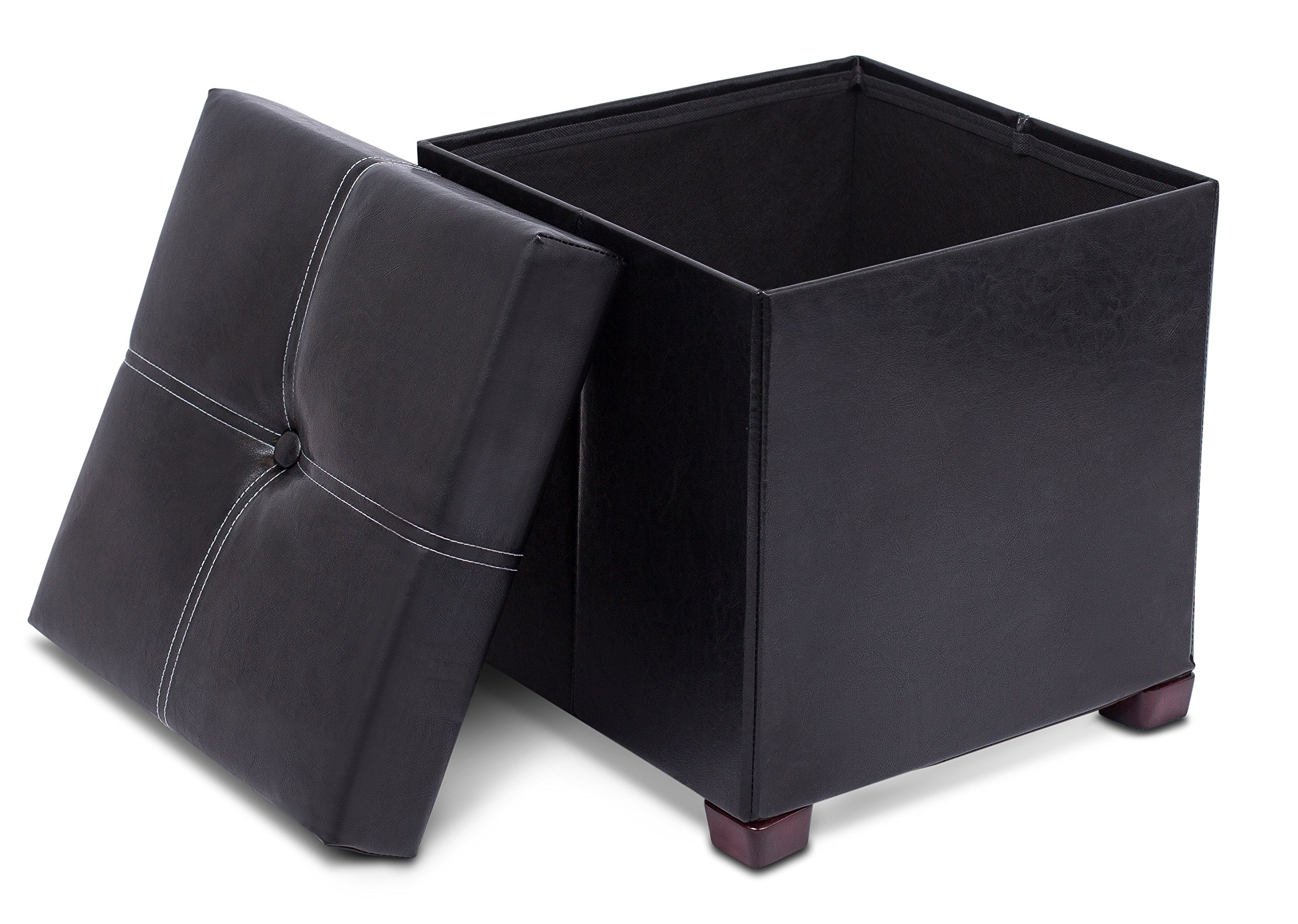 BirdRock Home Faux Leather Storage Ottoman with Legs | 16 x 16 | Foot Stool with Organizer | Upholstered Cushioned Seat | Black