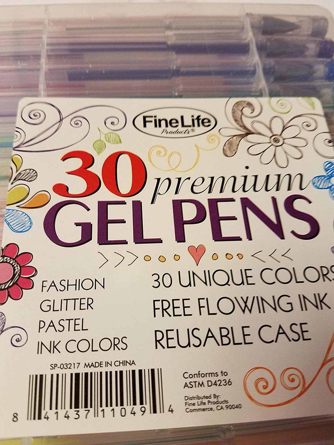 FINELIFE GEL PENS 30 BALL PEN COLOURS GLITTER INK SET LETTERING COLOURING CRAFTS