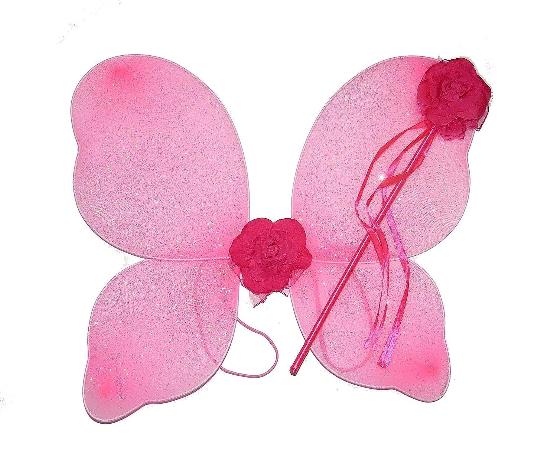 BEAUTIFUL PINK GLITTER ROSE FAIRY WINGS AND WAND ADULT GIRLS FANCY DRESS