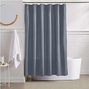 AmazonBasics Waffle Texture Shower Curtain - 72 Inch, Grey
