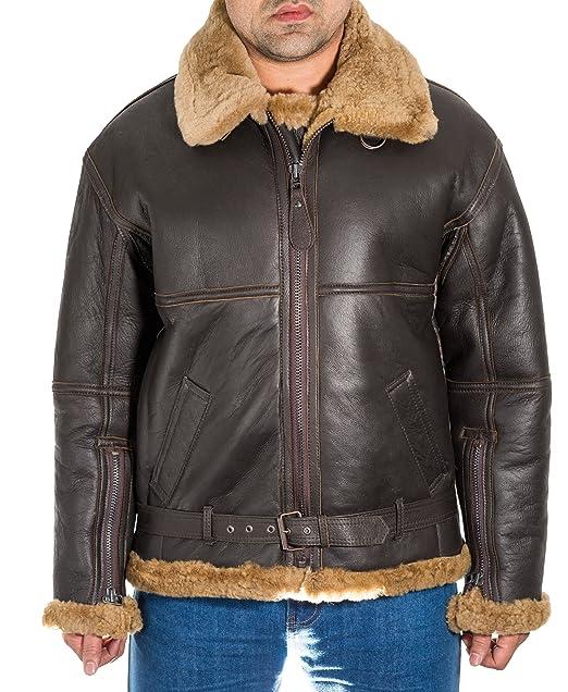 Chaqueta Marr-n Hombre del del aviador del vuelo de piel de oveja B3. El jengibre piel de oveja de piel. Chaqueta RAF WW2 estilo.