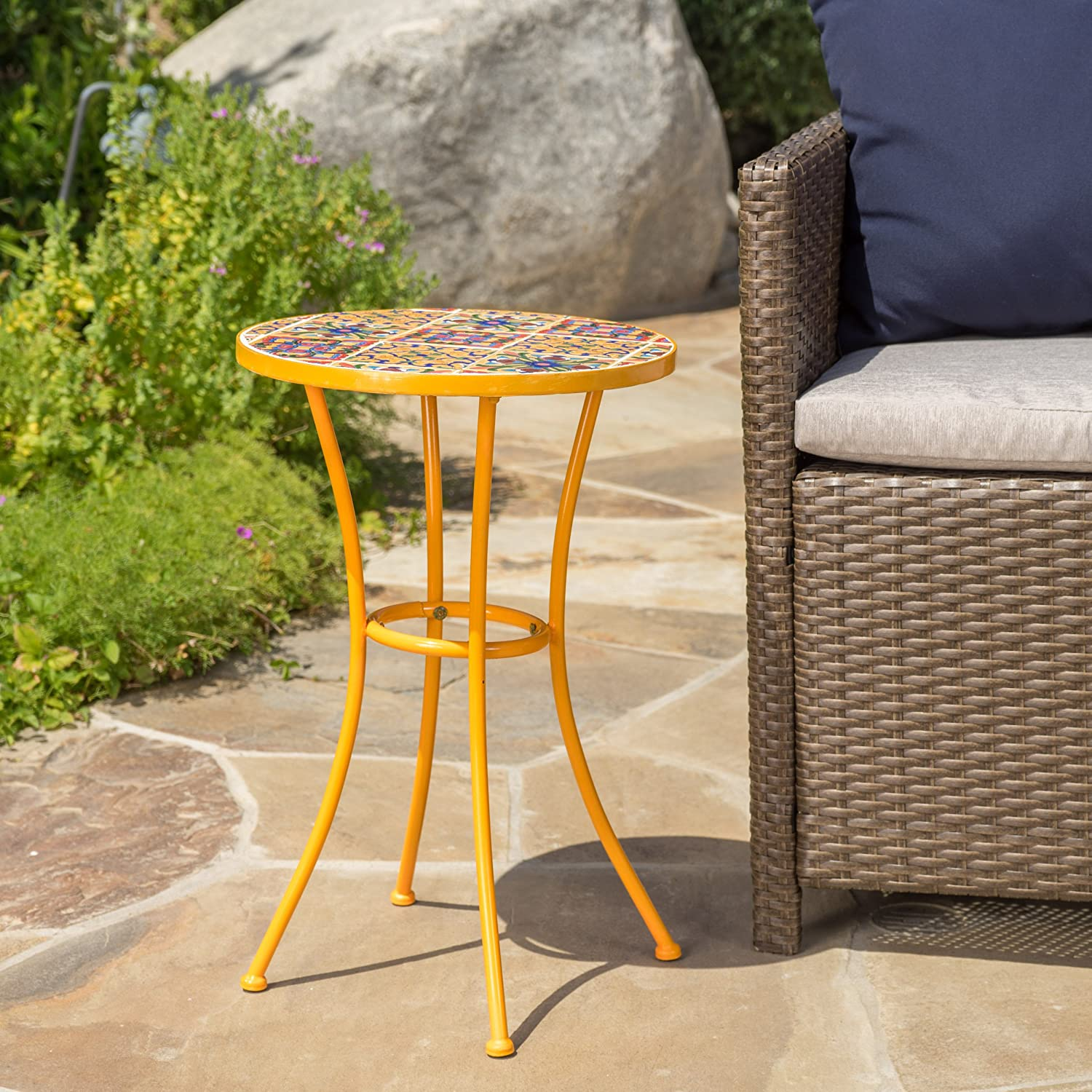 Amazon Com Brienne Outdoor Yellow Ceramic Tile Side Table With